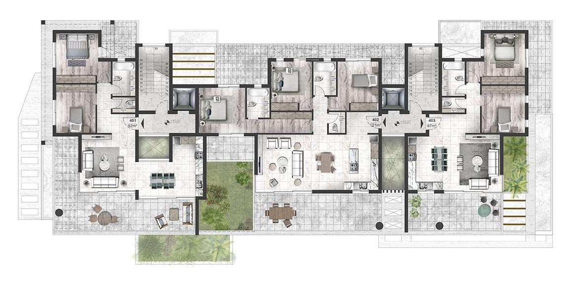 Oasis Residence - Fourth Floor Apartment Architectural Plan