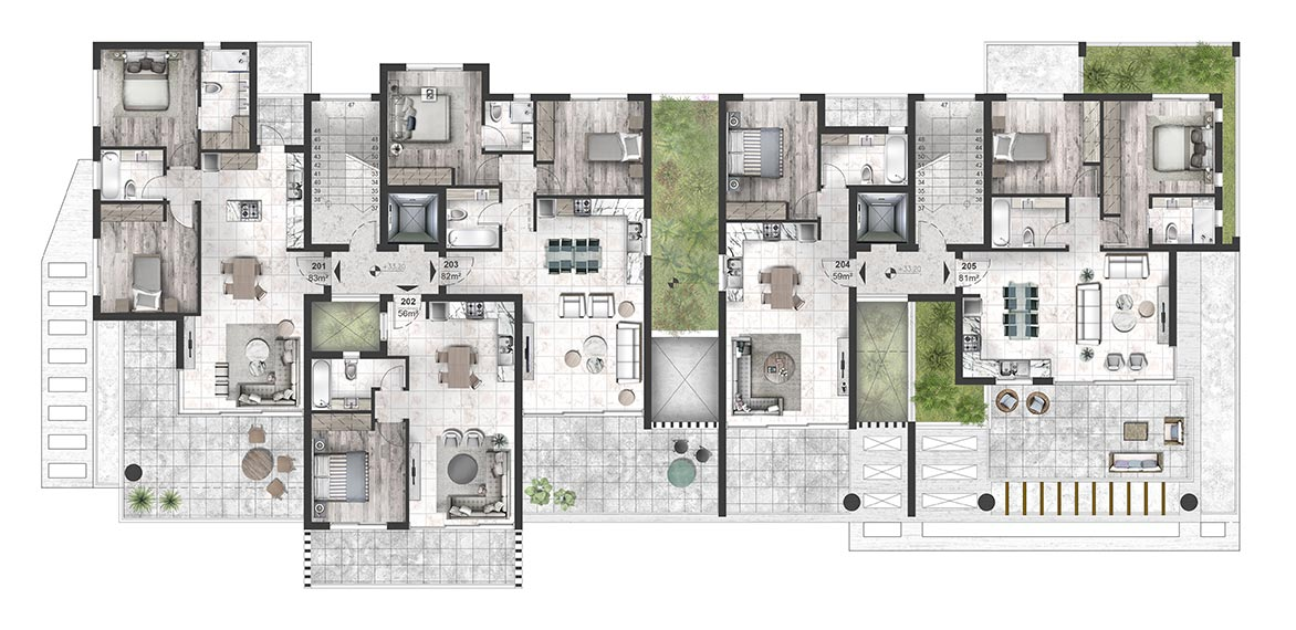 Oasis Residence - Second Floor Apartment Architectural Plan