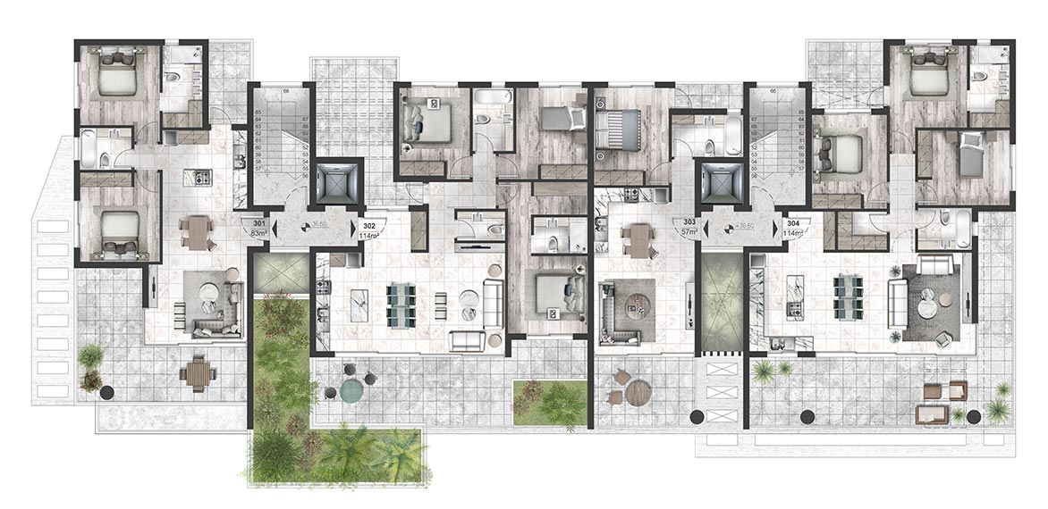 Oasis Residence - Third Floor Apartment Architectural Plan