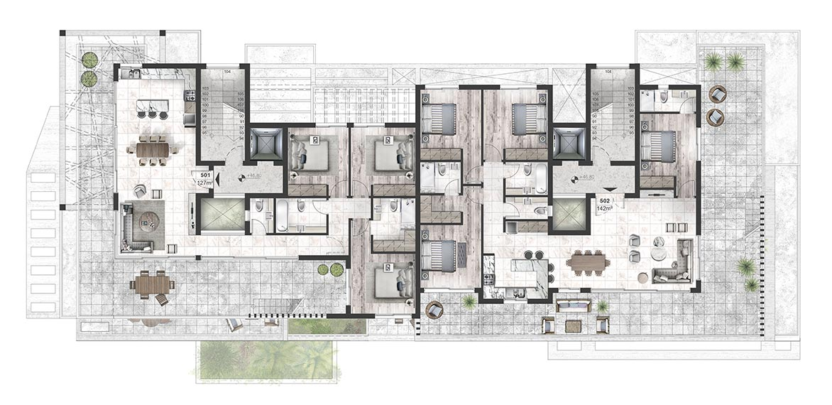 Oasis Residence - Fifth Floor Apartment Architectural Plan