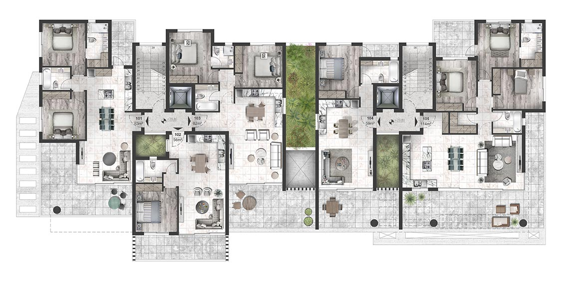 Oasis Residence - First Floor Apartment Architectural Plan
