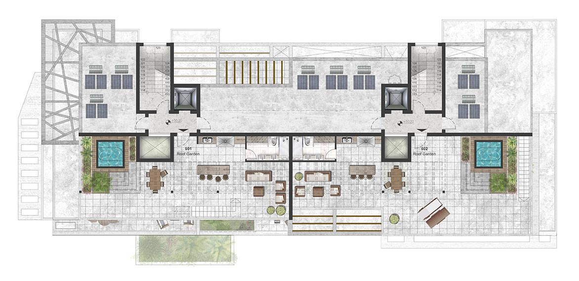 Oasis Residence - Fifth Floor Roof Garden Architectural Plan